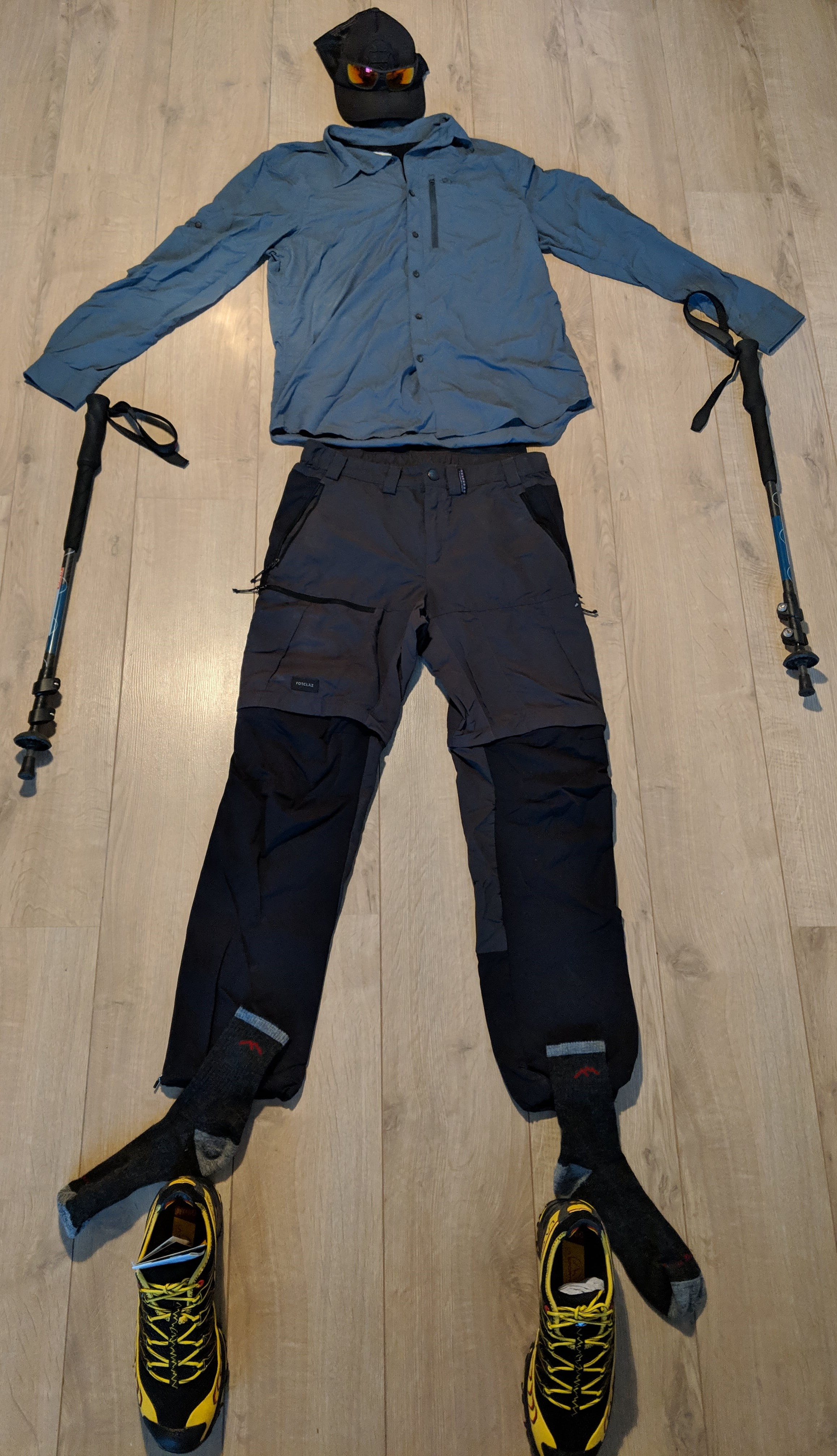 A picture illustrating the lightweight hiking gear I'll have on me during my Pacific Crest Trail hike.