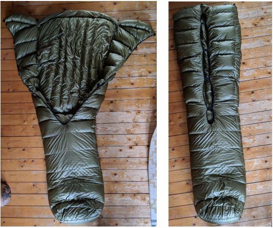 Een geopende en gesloten quilt met een dichtgenaaide footbox