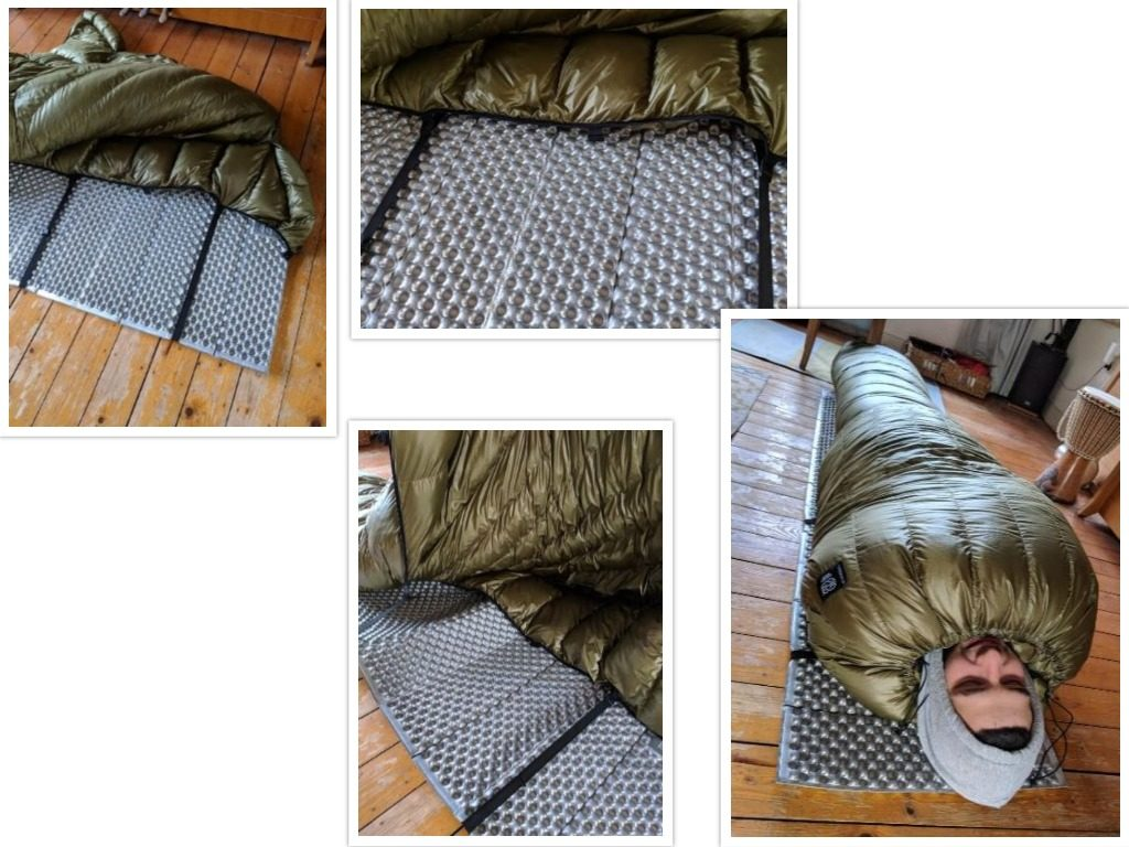 Een overzicht van het bevestigen van een quilt aan een slaapmatje