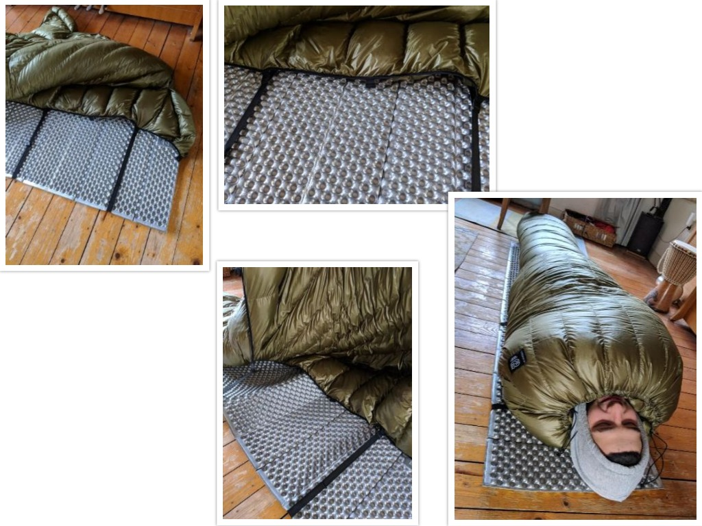 The quilt attachment straps are used to secure the quilt to the sleeping pad and prevent heat loss